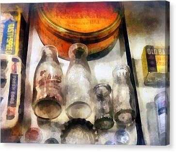 Milk Bottles In Dairy Case Canvas Print