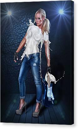 Milk Dress - Rockstar Girl Lights Canvas Print by Rod Meier