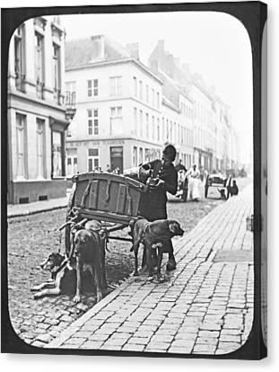Canvas Print featuring the photograph Milk Wagon Street Scene Germany C 1900 Vintage Photo by A Gurmankin