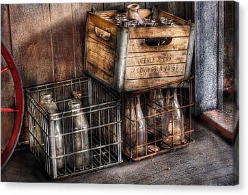 Milkman - Bottles In Boxes Canvas Print by Mike Savad