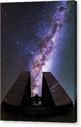 Milky Way Above The Ntt Telescope Canvas Print by Babak Tafreshi