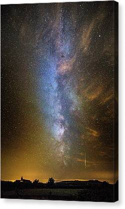 Milky Way And Perseid Meteor Trail Canvas Print by Chris Madeley