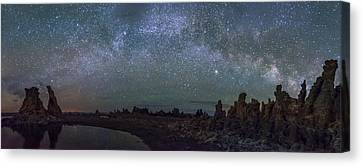 Milky Way At Mono Lake Canvas Print by Cat Connor