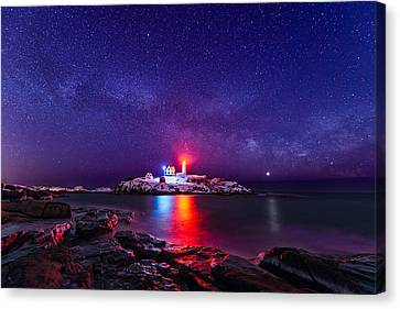 Nubble Lighthouse Canvas Print - Milky Way Comeback by Michael Blanchette