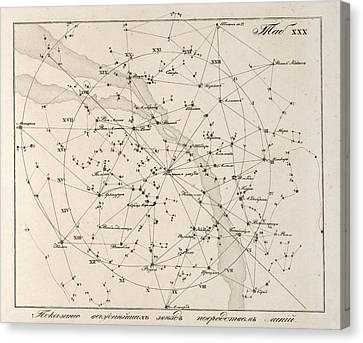 Milky Way Constellations, 1829 Canvas Print by Science Photo Library