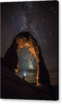 Copyright 2013 By Mike Berenson Canvas Print - Milky Way Illumination At Delicate Arch by Mike Berenson