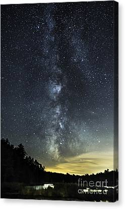 Milky Way Over Beaver Pond In Phippsburg Maine 2 Canvas Print