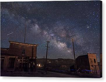 Milky Way Over Bodie Hotels Canvas Print by Cat Connor