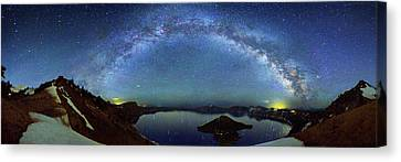 Milky Way Over Crater Lake Canvas Print