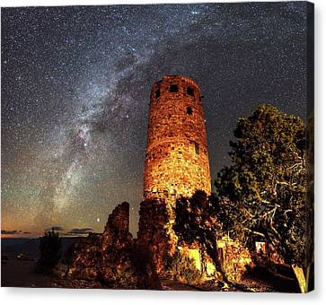 Milky Way Over Grand Canyon Watchtower Canvas Print by Babak Tafreshi