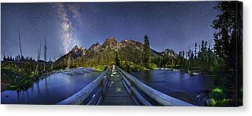 Milky Way Over Grand Teton National Park Canvas Print by Walter Pacholka, Astropics