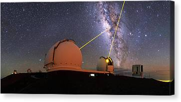 Keck Telescope Canvas Print - Milky Way Over Mauna Kea Observatories by Babak Tafreshi