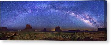 Milky Way Over Monument Valley Canvas Print by Walter Pacholka, Astropics
