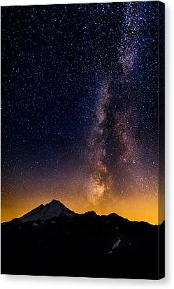 Milky Way Over Mount Baker Canvas Print by Alexis Birkill