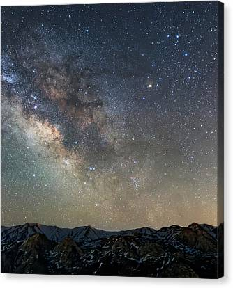 Milky Way Over Mountains Canvas Print
