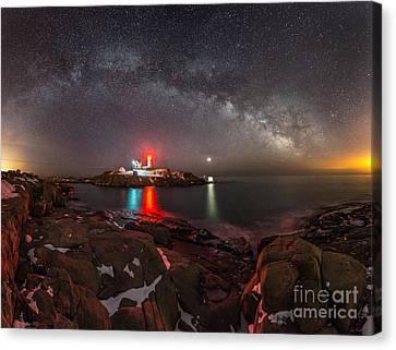 Milky Way Over Neddick Cape Light Canvas Print by Jim Block