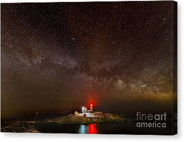 Milky Way Over Nubble Light Canvas Print by Jim Block