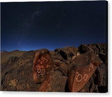 Constellations Canvas Print - Milky Way Over Petroglyphs by Babak Tafreshi