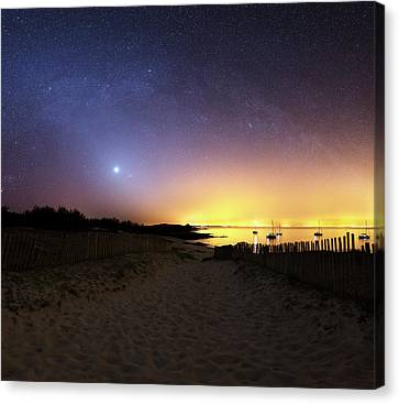 Milky Way Over The Coast Canvas Print by Laurent Laveder