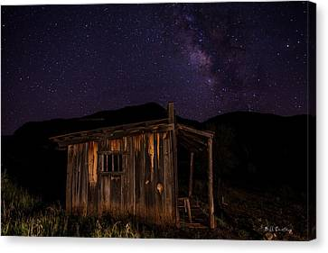 Old Cabins Canvas Print - Milky Way Rising by Bill Cantey