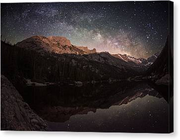 Copyright 2013 By Mike Berenson Canvas Print - Milky Way Rising Over Longs Peak by Mike Berenson