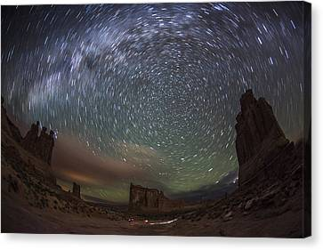 Copyright 2013 By Mike Berenson Canvas Print - Milky Way Swirls Over Arches Park Avenue by Mike Berenson