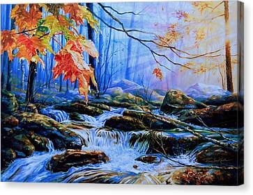 Mill Creek Autumn Sunrise Canvas Print by Hanne Lore Koehler