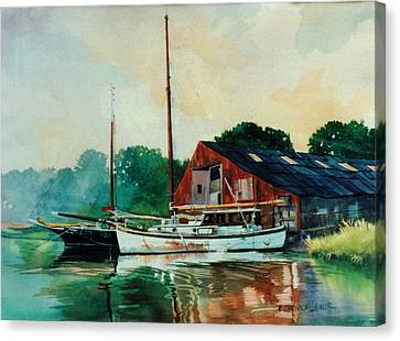 Mill Neck Ladies In Waiting Canvas Print by Marguerite Chadwick-Juner