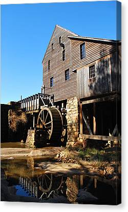 Canvas Print featuring the photograph Mill Reflection by Bob Sample