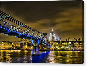 Millennium Bridge With St Pauls Canvas Print by Ian Hufton