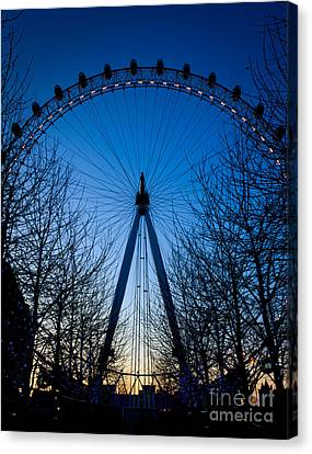 Canvas Print featuring the photograph Millennium Eye London At Twilight by Peta Thames