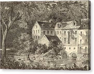 Mills At Rockland Ny 1869 Engraving By John Filmer Canvas Print by Antique Engravings