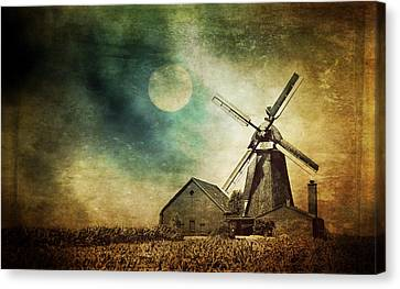 Mill In The Night Canvas Print by Heike Hultsch