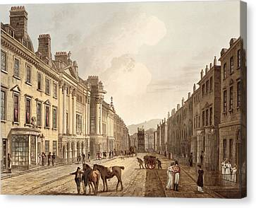 Milsom Street, From Bath Illustrated Canvas Print by John Claude Nattes