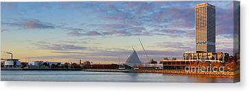 Canvas Print featuring the photograph Milwaukee At Sunrise  by Ricky L Jones