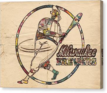 Milwaukee Brewers Vintage Art Canvas Print