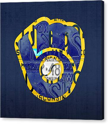 Milwaukee Brewers Vintage Baseball Team Logo Recycled Wisconsin License Plate Art Canvas Print by Design Turnpike