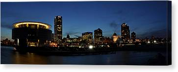 Canvas Print featuring the photograph Milwaukee City Scape Panorama by Deborah Klubertanz