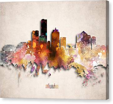 Miller Park Canvas Print - Milwaukee Painted City Skyline by World Art Prints And Designs