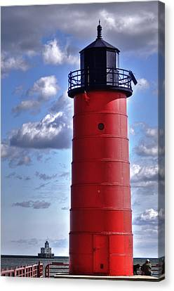 Canvas Print featuring the photograph Milwaukee Pierhead Light by Deborah Klubertanz