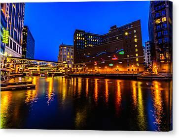 Milwaukee River Blue Hour Canvas Print by Randy Scherkenbach
