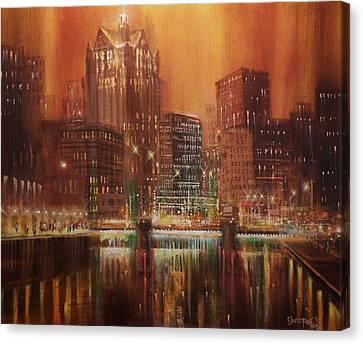 Milwaukee River Downtown Canvas Print by Tom Shropshire