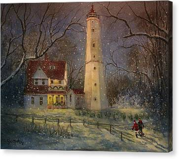 Milwaukee's North Point Lighthouse Canvas Print by Tom Shropshire