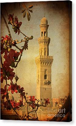Canvas Print featuring the photograph Minaret In Old Cairo Capital Of Egypt by Mohamed Elkhamisy