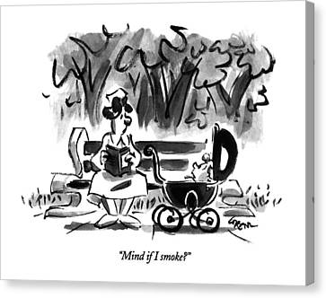 Park Benches Canvas Print - Mind If I Smoke? by Lee Lorenz