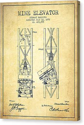 Mine Elevator Patent From 1892 - Vintage Canvas Print