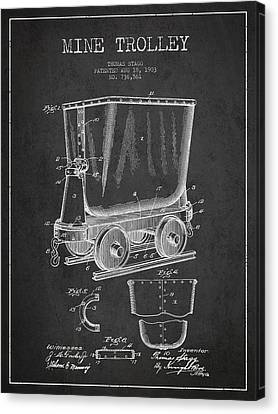 Mine Trolley Patent Drawing From 1903 - Dark Canvas Print by Aged Pixel