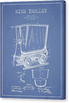 Mine Trolley Patent Drawing From 1903 - Light Blue Canvas Print by Aged Pixel