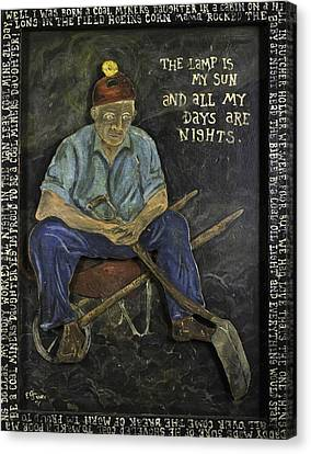 Miner - Lamp Is My Sun Canvas Print by Eric Cunningham