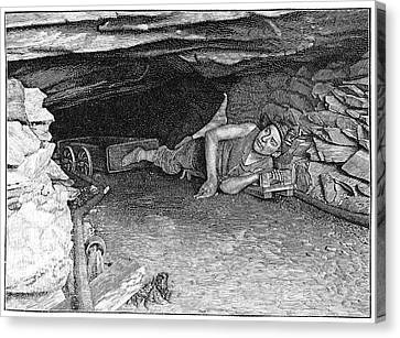 Miner With Foot-drawn Cart, Artwork Canvas Print by Science Photo Library